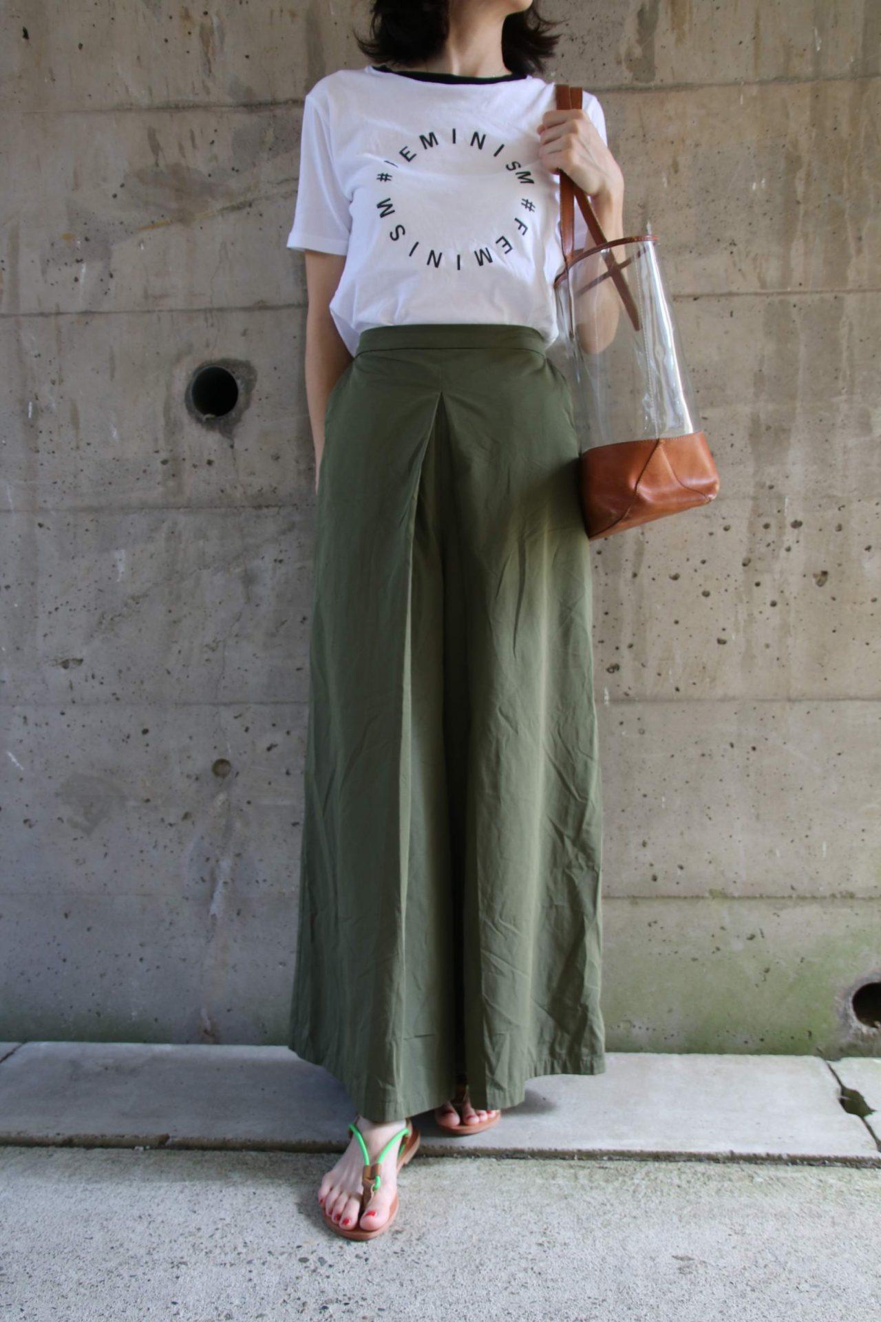 Tシャツ×マキシ丈コーディネート