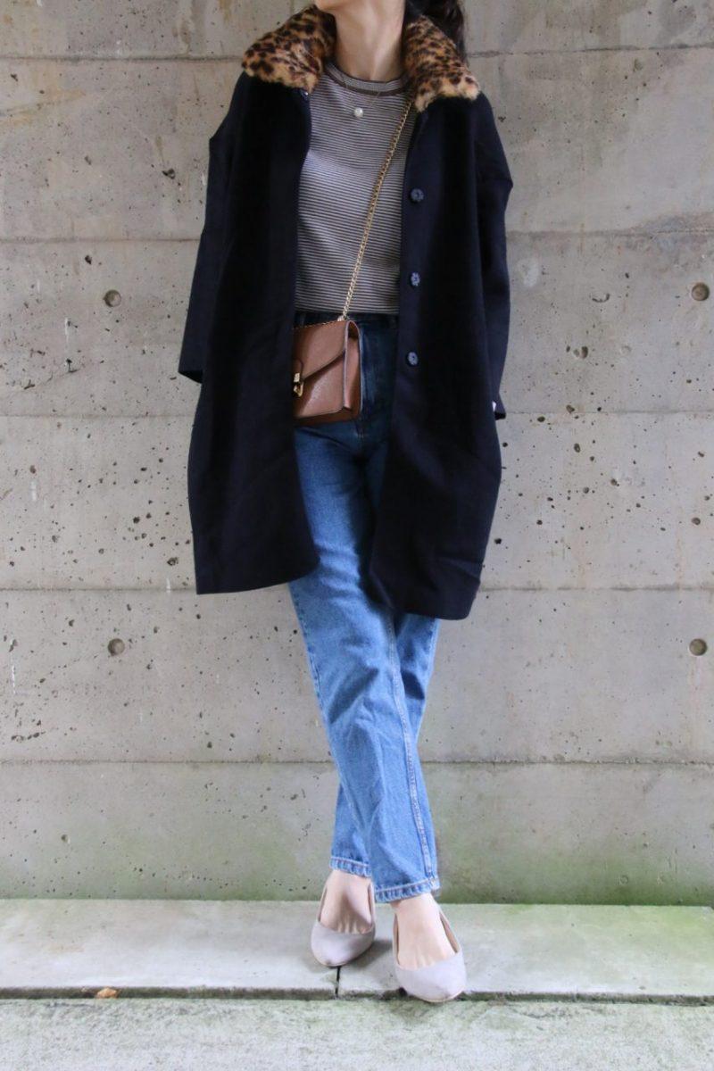 ザラレオパード衿つきニットジャケットコーディネート2