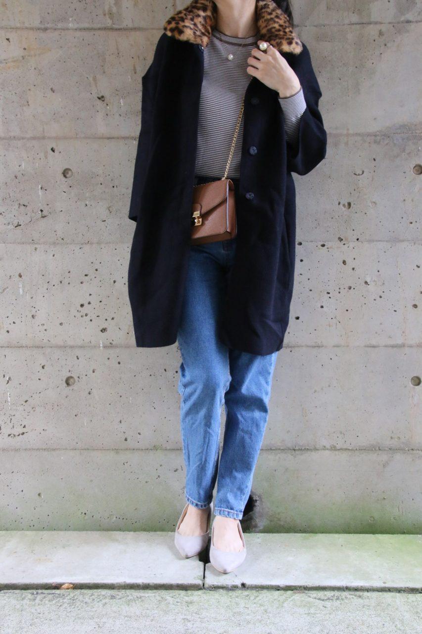 レオパード衿つきニットジャケットコーディネート
