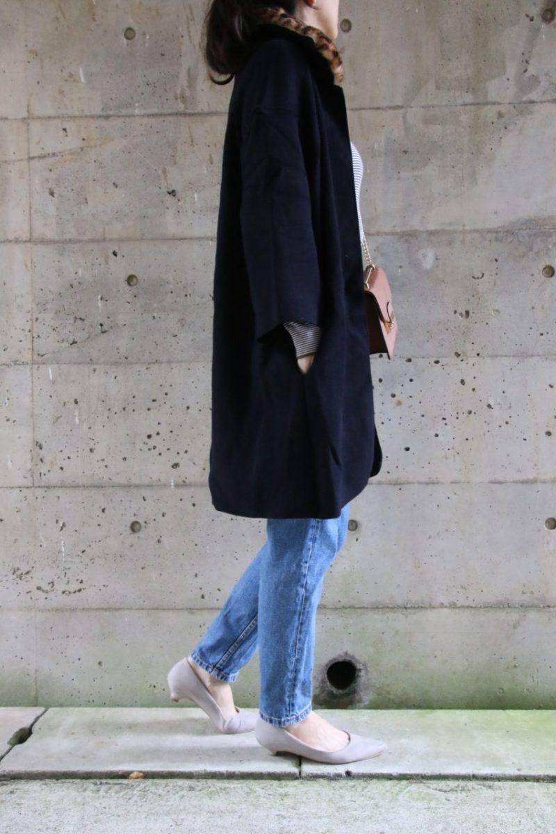 ザラレオパード衿つきニットジャケットコーディネート横