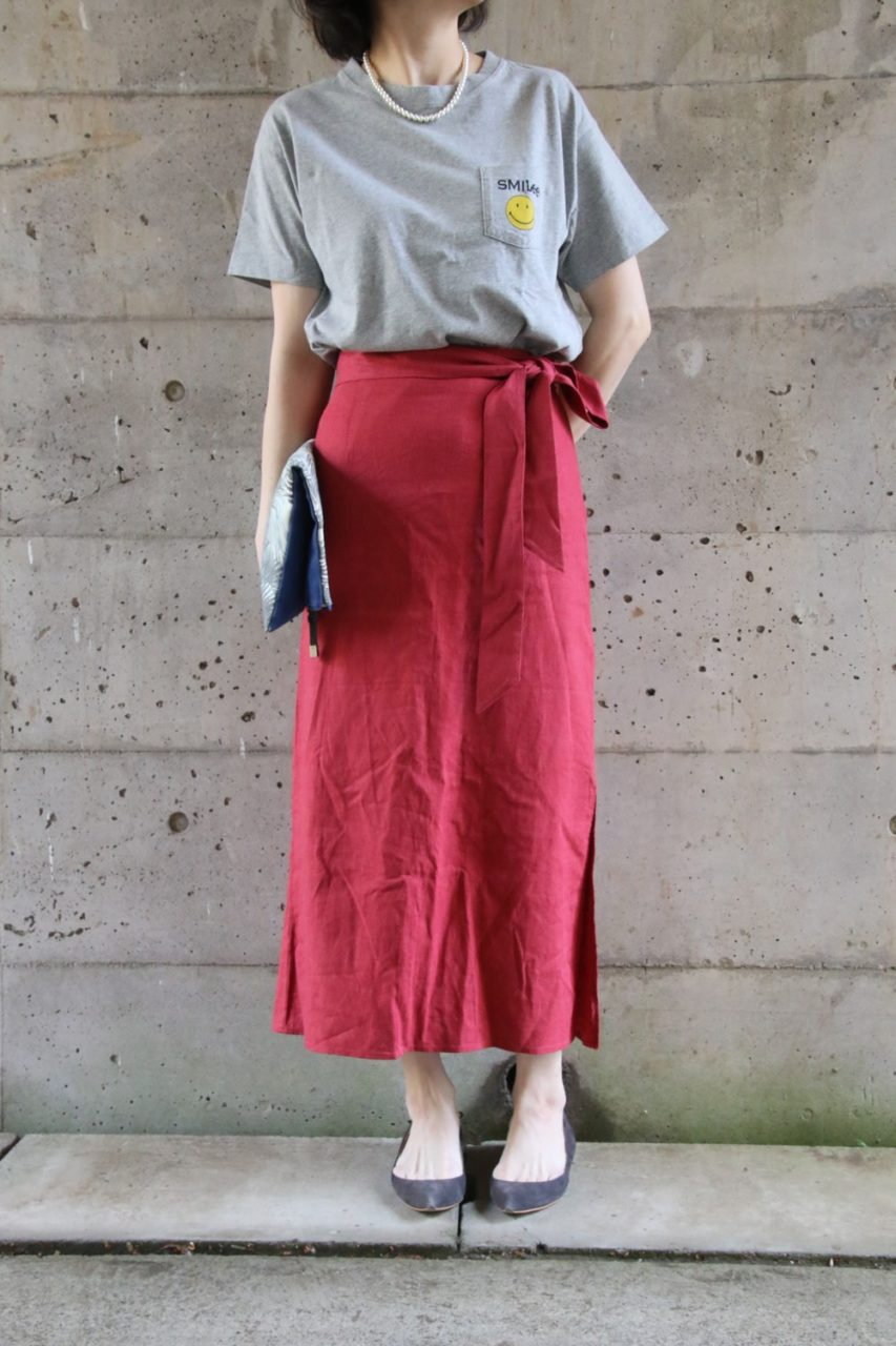 赤スカートコーディネート