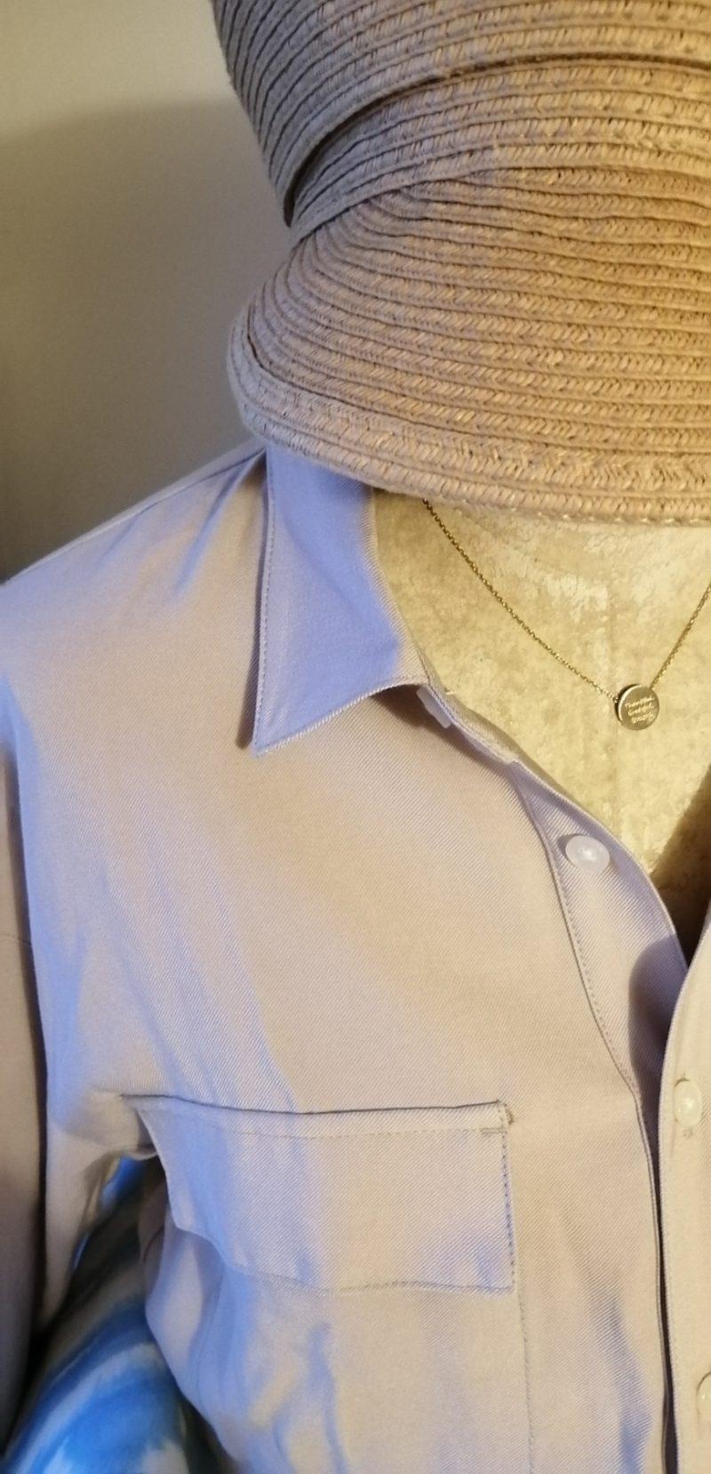 シャツワンピース衿