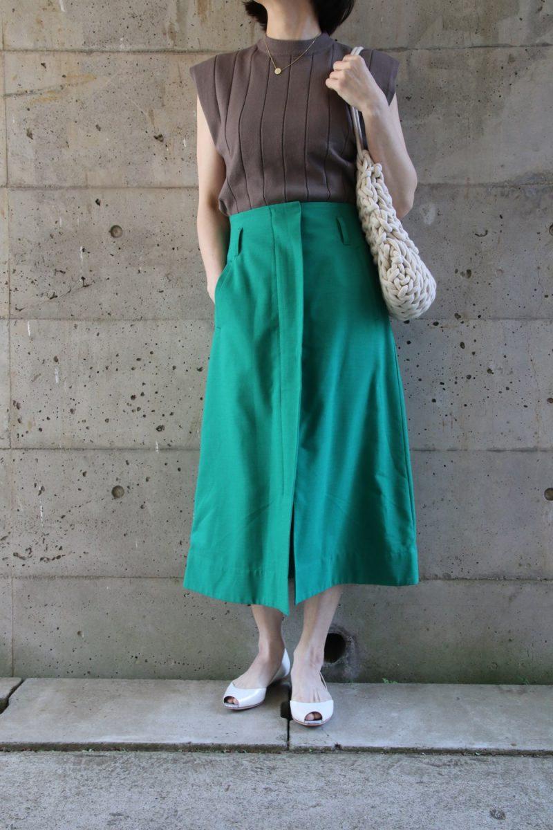 太リブニット×グリーンスカート2